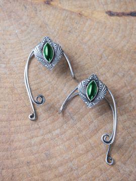 Ohrklemmen mit grünem Stein Linkes Ohr