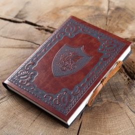 """Schreibbuch """"ScuDrago"""" im Ledereinband"""