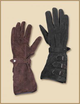Stulpenhandschuhe mit Schnallen braun | M
