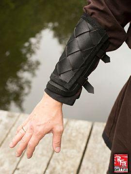 Wikinger-Armschienen aus Leder schwarz
