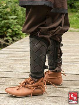Wikinger-Beinschienen aus Leder schwarz