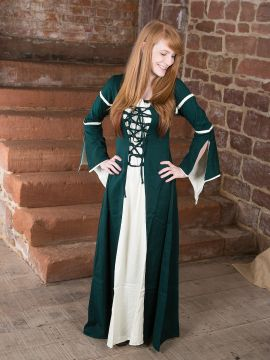 Kleid mit Trompetenärmeln, grün-natur
