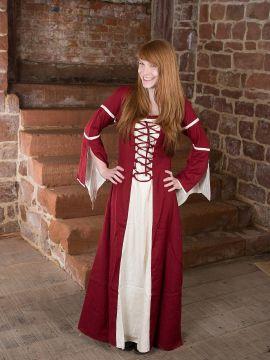 Kleid mit Trompetenärmeln, natur-rot