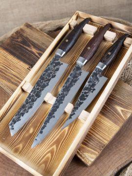 3-tlg. Messerset mit Griff aus Wengeholz