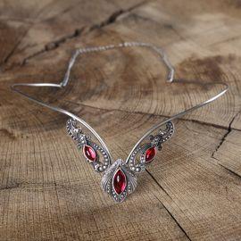 Tiara - Diadem mit roten Steinen