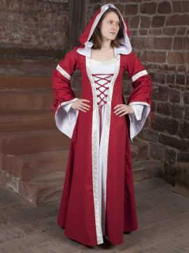 Mittelalterkleid Ottilia in rot-weiß