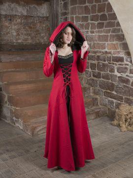 Mittelalterkleid Gwenhwyfar schwarz-rot 38