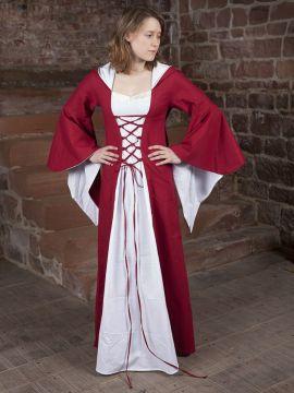 Mittelalterkleid Dorothea rot-weiß