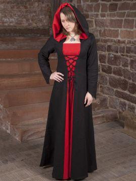 Mittelalterkleid Luna in schwarz-rot