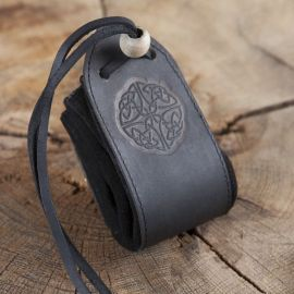 schwarzer Lederbeutel Keltischer Knoten III