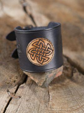 Lederarmband Keltischer Knoten schwarz