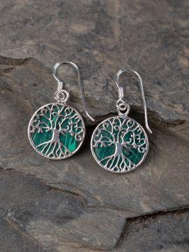 Ohrringe Lebensbaum mit Malachit