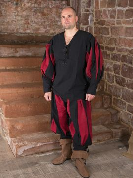 Landsknechthemd mit Hose XL | L | schwarz-rot