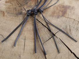 Lederriemen,  1 Meter rund oder rechteckig schwarz - vierkant