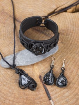 Schmuck-Set Obsidian