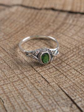 Silberring mit grünem Zirkonia