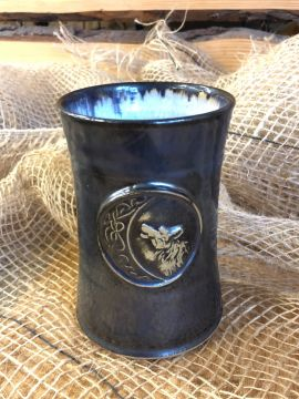 Keramikbecher mit Wolf blau-grau