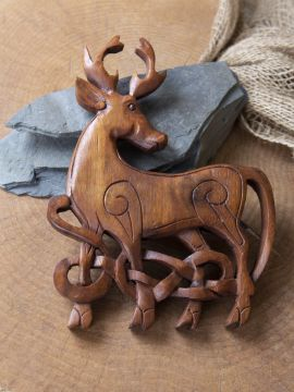Holz-Wandschmuck Keltischer Hirsch