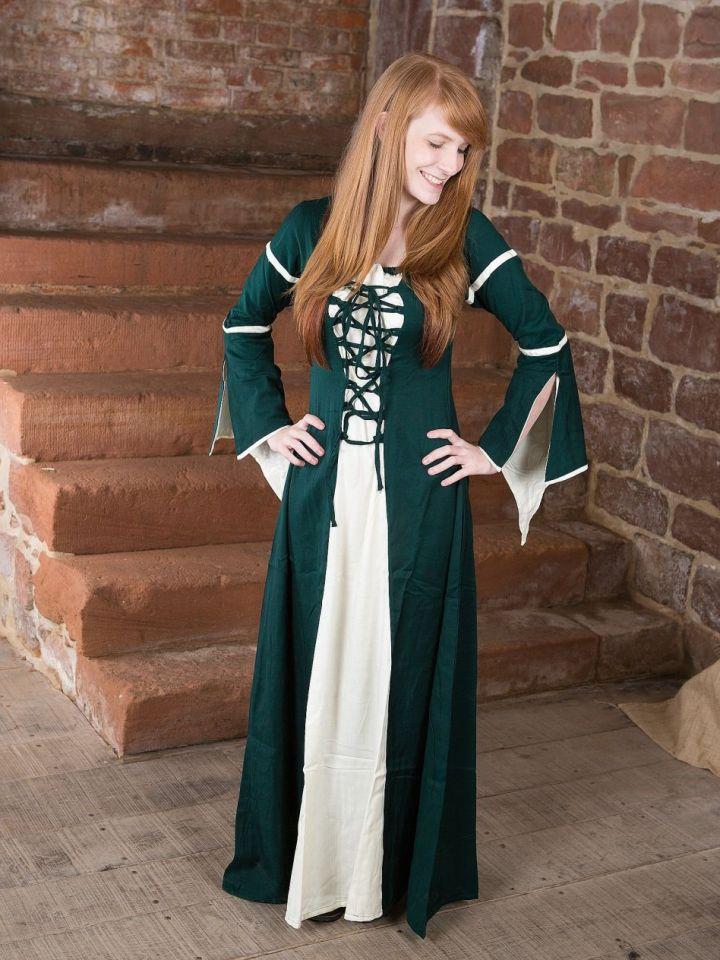 Kleid mit Trompetenärmeln, grün-natur L