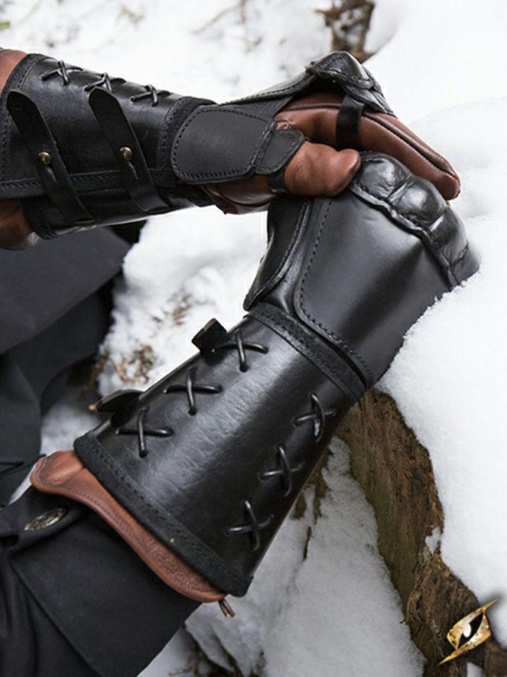 Schwarzer Panzerhandschuh aus Leder für die linke Hand