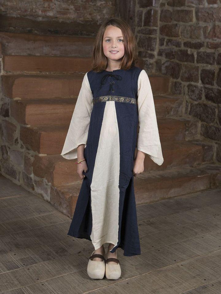 """Kinderkleid """"Piccolina"""" blau-natur 128/134"""