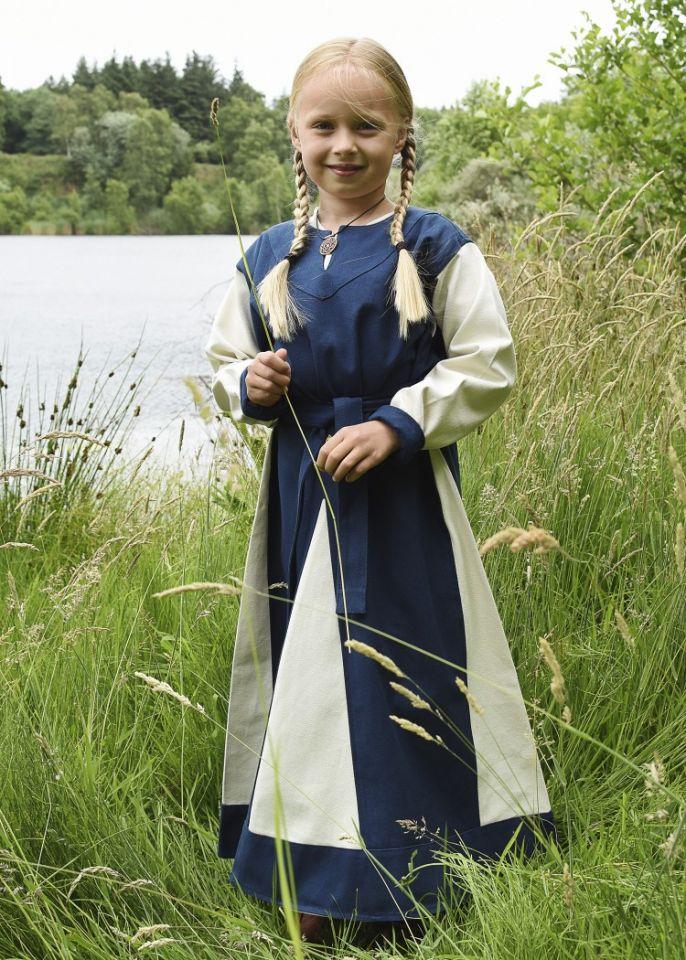 Wikingerkleid für Kinder blau/natur
