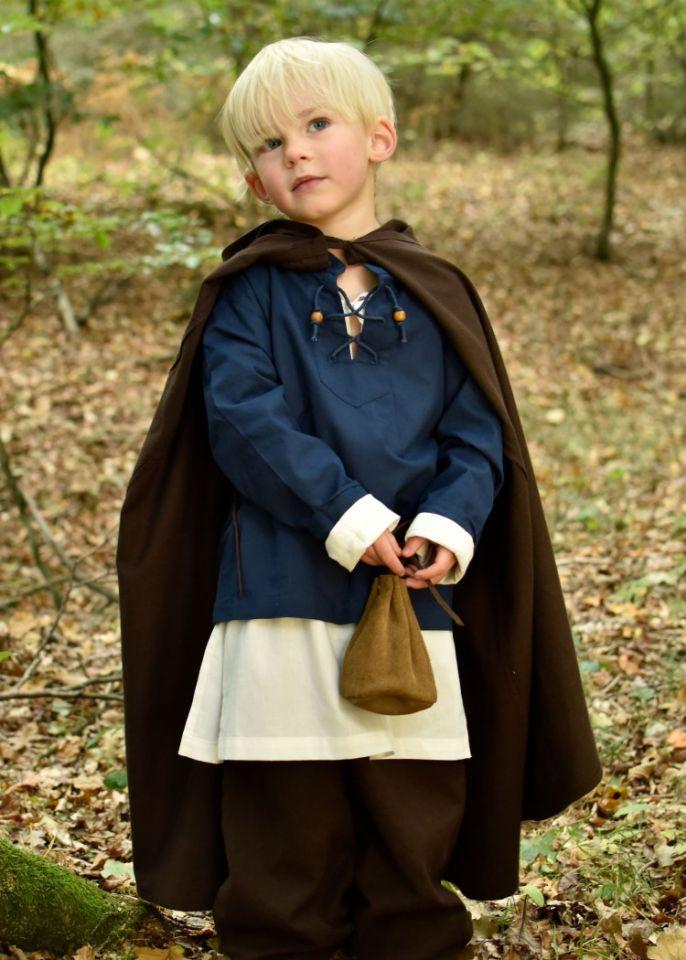 Mittelalter-Umhang für Kinder braun 128