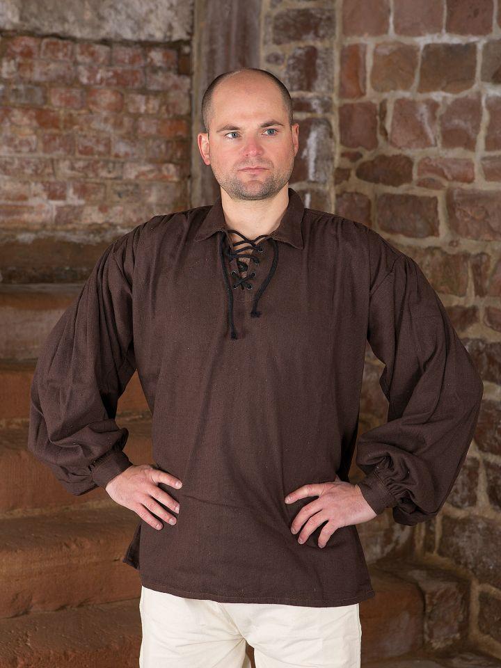 Baumwollhemd mit Kragen braun