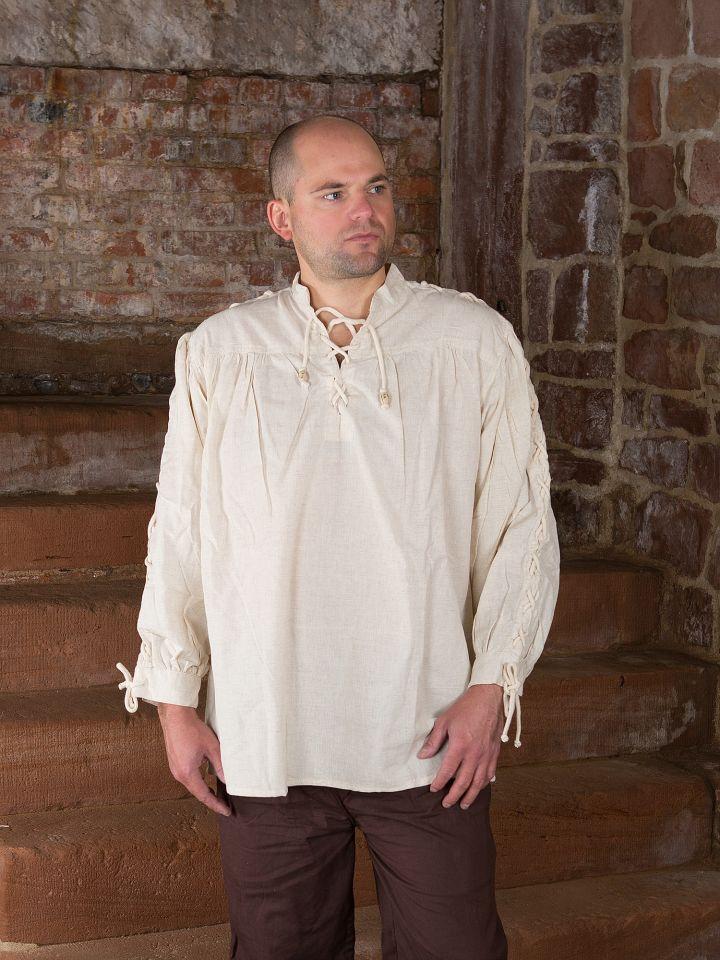 Mittelalterhemd mit geschnürten Ärmeln, natur