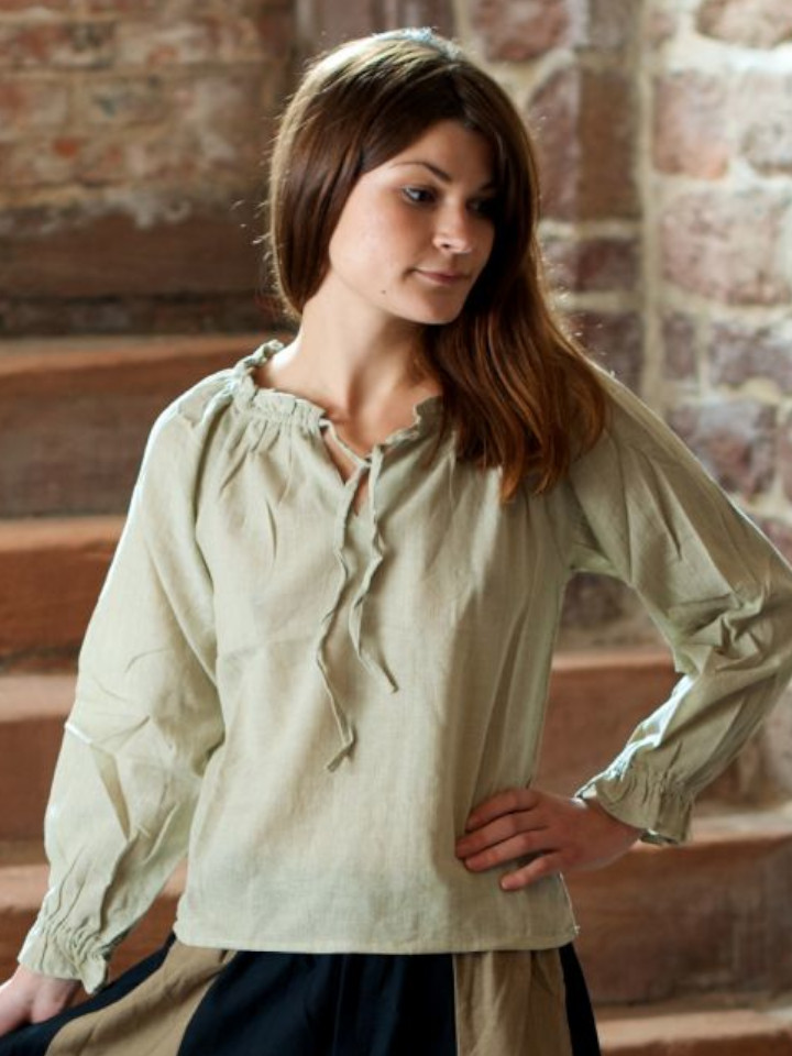 Bluse mit Schnürung hanf XL