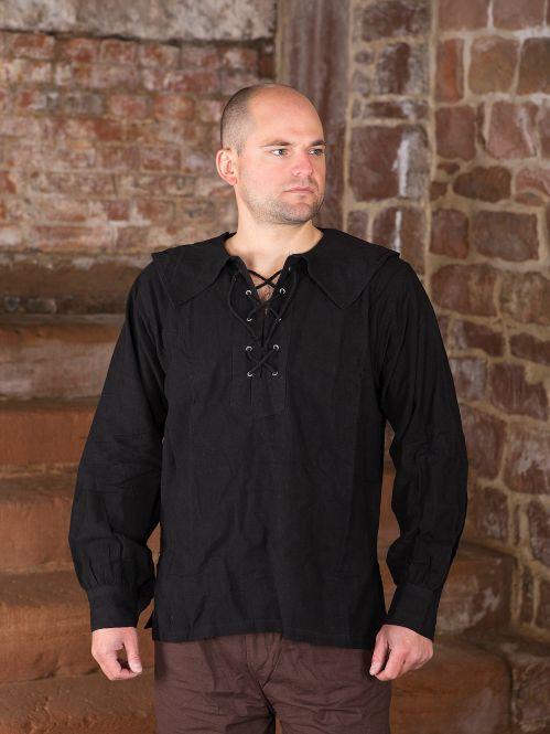 Baumwollhemd mit rundem Kragen schwarz S