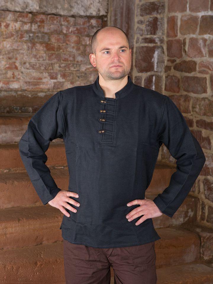 Dickes Stehkragenhemd mit Knopfleiste schwarz