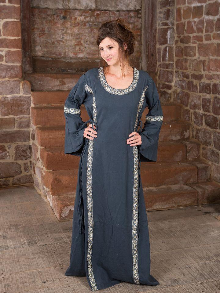 Kleid mit Borte taubenblau XL