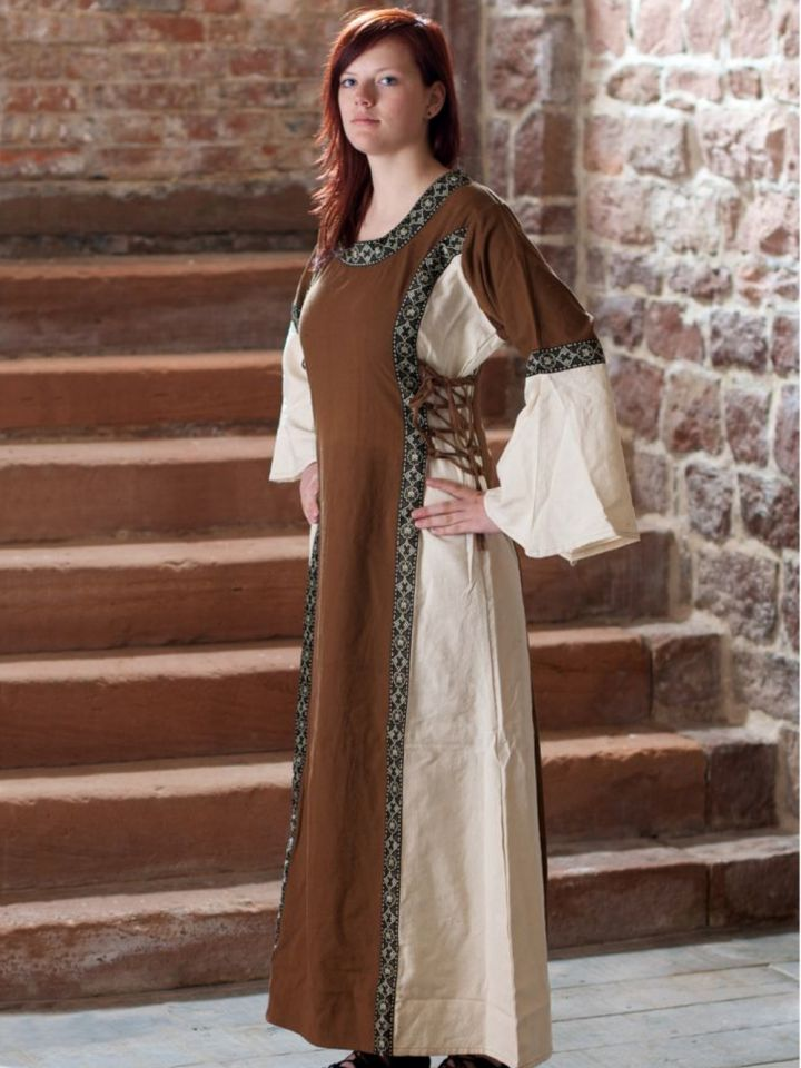 Kleid mit Borte braun-natur