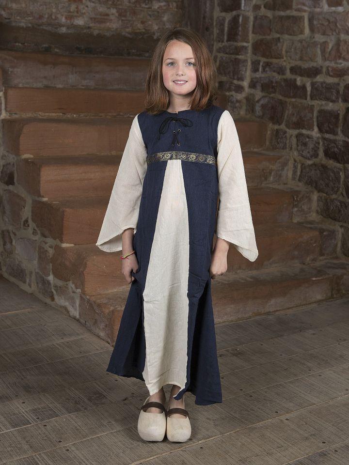 """Kinderkleid """"Piccolina"""" blau-natur"""