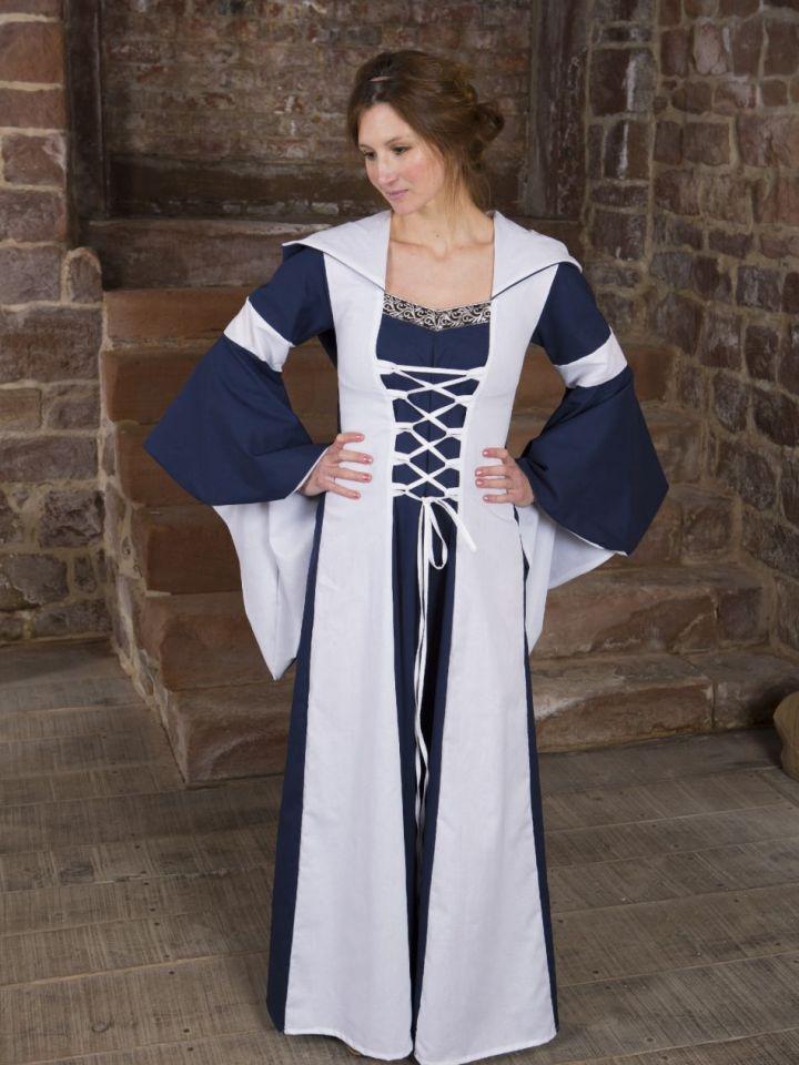 Baumwollkleid Minna blau-weiß 50