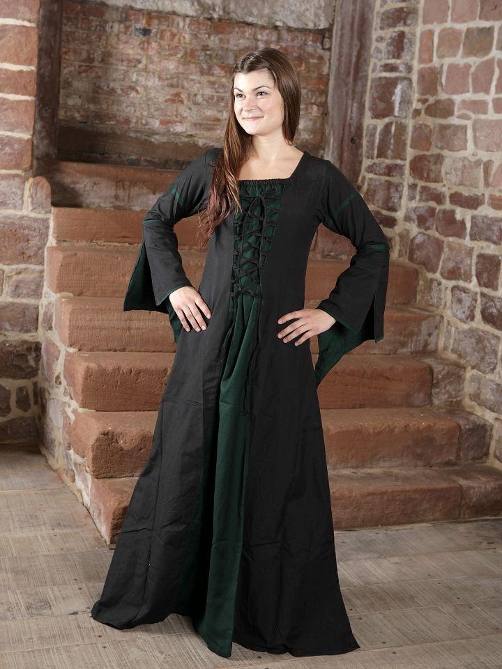 Mittelalterkleid aus Viskose schwarz-grün