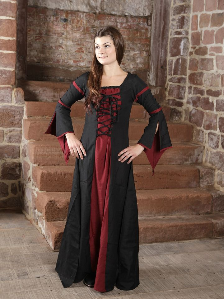 Mittelalterkleid aus Viskose schwarz-rot L