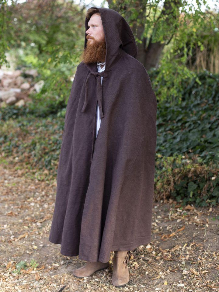 Kapuzenumhang aus Baumwolle braun