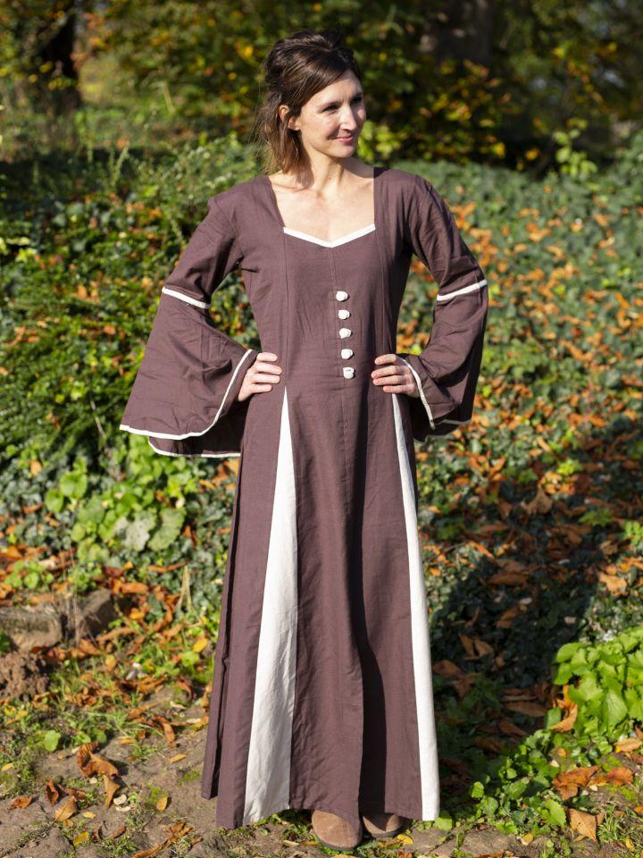 Mittelalterkleid mit Zierknöpfen braun-natur