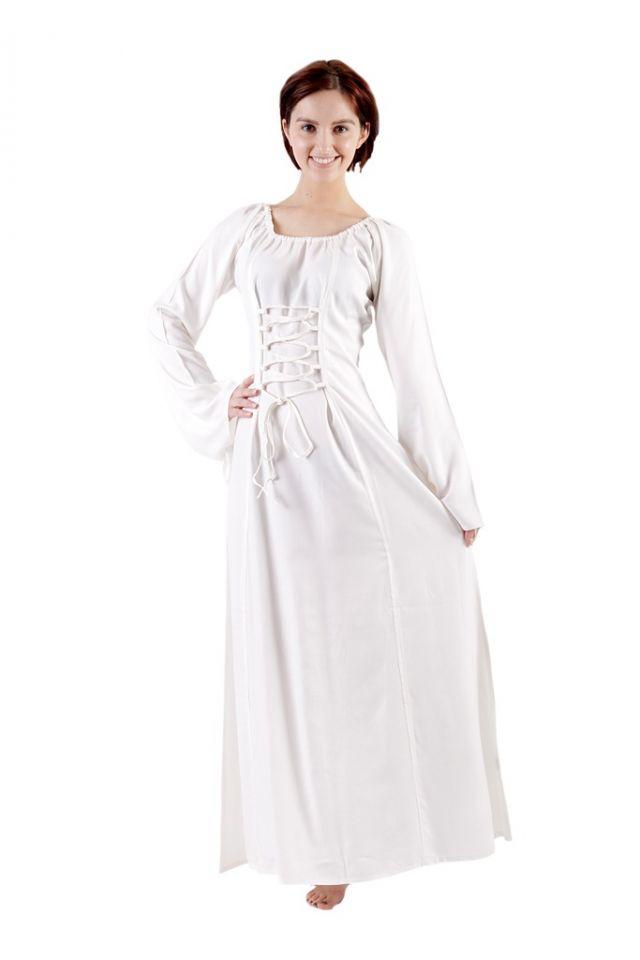Schlichtes Mittelalterkleid aus Viskose weiß