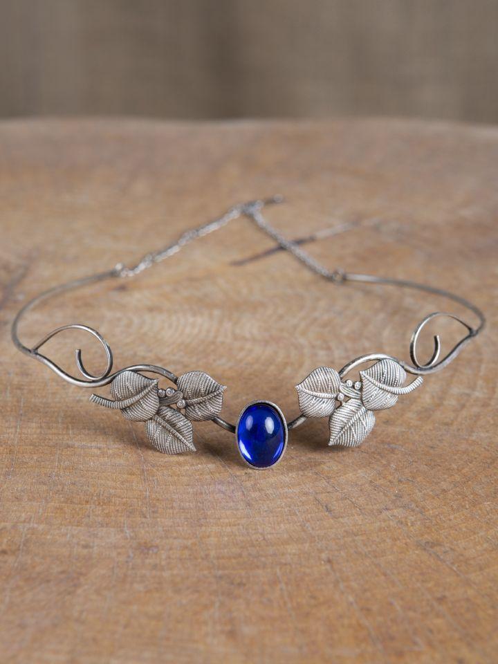 Tiara mit Blätter und blauem Schmuckstein