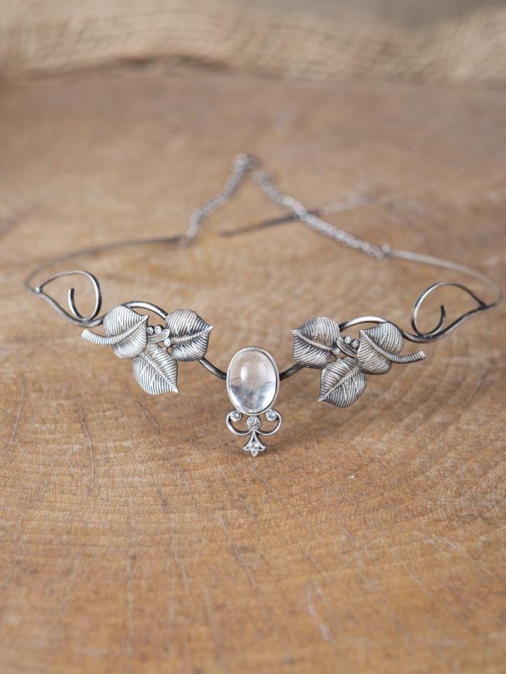 Kronen-Tiara mit Blättern und Kristall