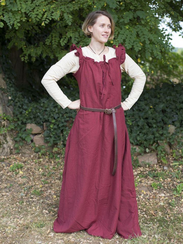 Ärmelloses Kleid mit Schulterrüsche weinrot L/XL