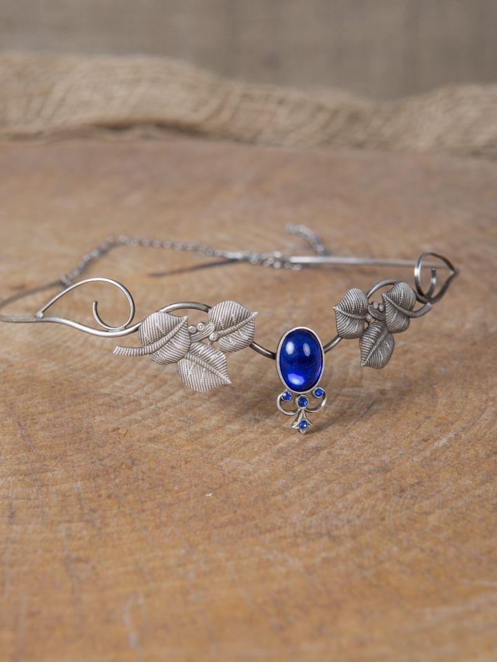 Kronen-Tiara mit Blättern und blauem Schmuckstein