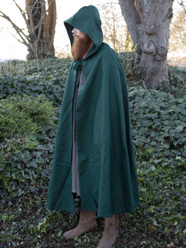 Umhang aus Wolle (mit Kapuze) grün