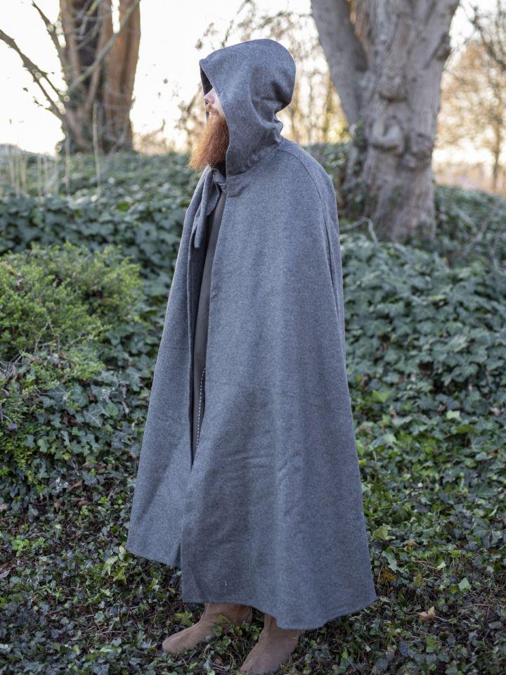 Umhang aus Wolle (mit Kapuze) grau