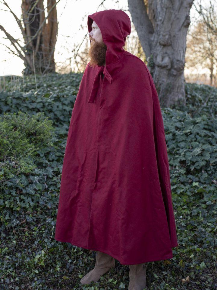 Umhang aus Wolle (mit Kapuze) rot