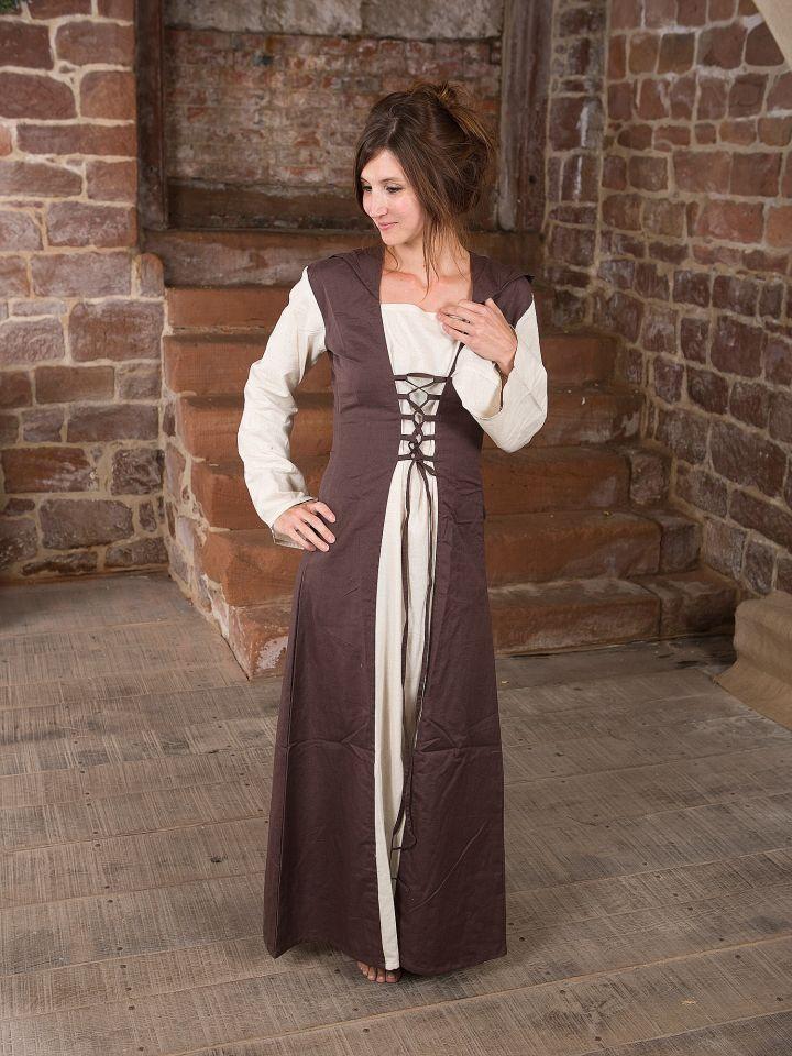 Mittelalterkleid mit Kapuze in natur-braun L/XL
