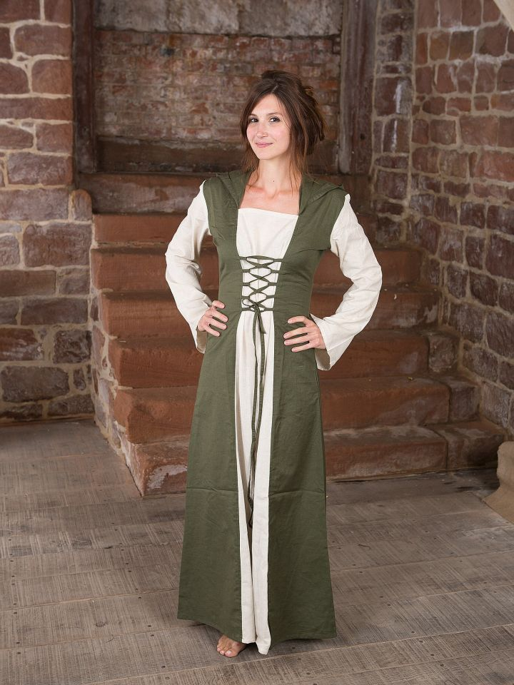 Mittelalterkleid mit Kapuze in natur-oliv